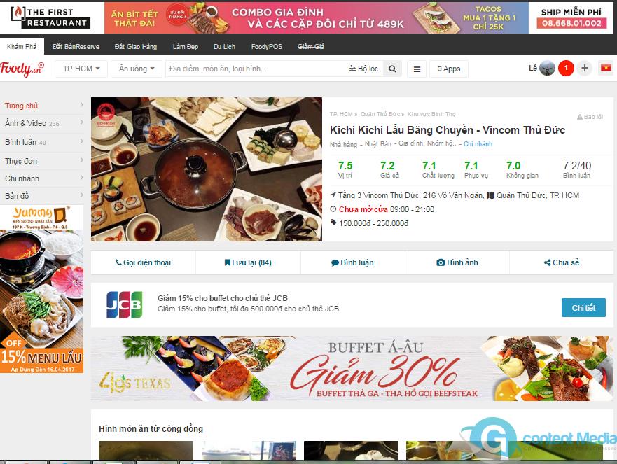 Gói báo giá, bảng giá quảng cáo Foody (Bài PR + Review) hiệu quả nhất