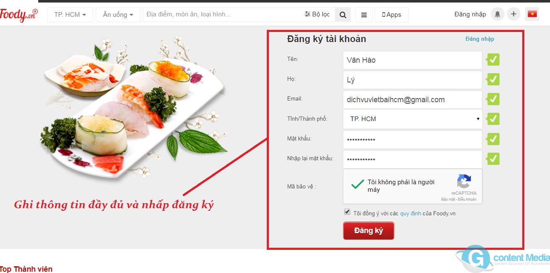 Hướng dẫn cách đăng ký tài khoản quán ăn, nhà hàng trên foody.vn