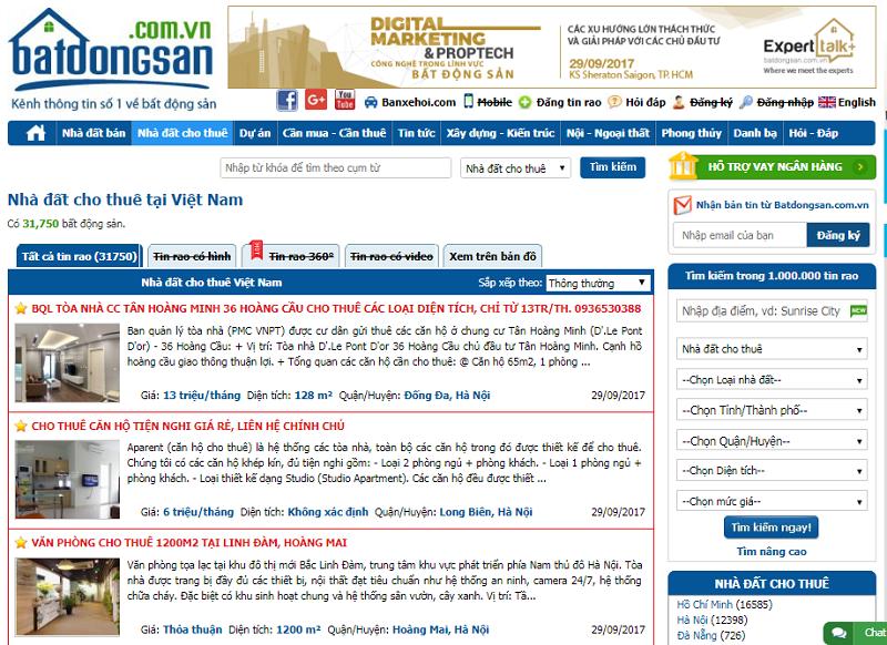 Bảng giá quảng cáo batdongsan.com.vn Chiết khấu % Cao