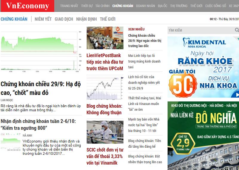 Bảng giá quảng cáo Vneconomy.vn - Chiết khấu % CAO - Book Nhanh