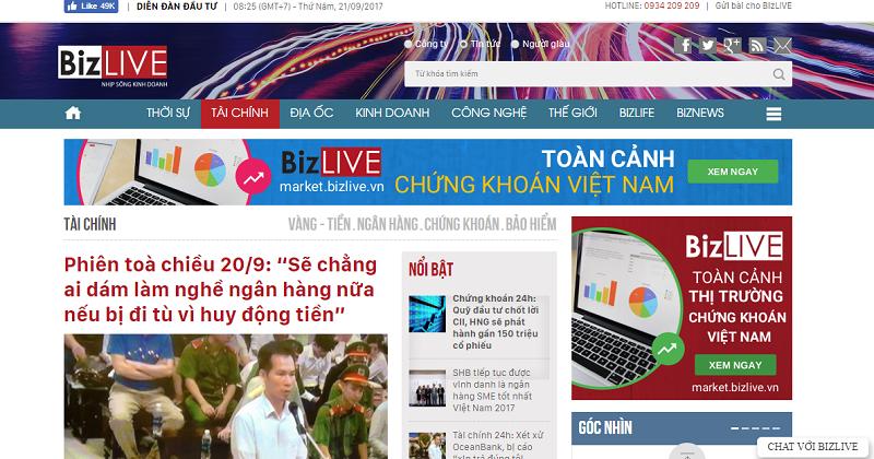 Báo giá quảng cáo báo bizlive.vn Chiết khấu % Cao cho đối tác