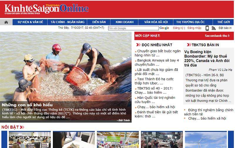 Bảng giá quảng cáo báo Kinh tế Sài Gòn (thesaigontimes.vn): Báo giấy + điện tử